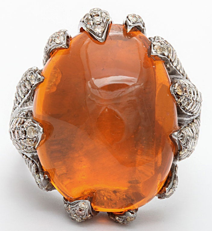 Flame Tipped Diamond & Fire Opal Ring 3