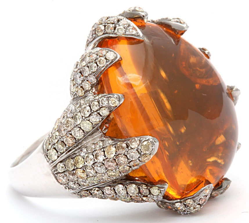 Flame Tipped Diamond & Fire Opal Ring 4