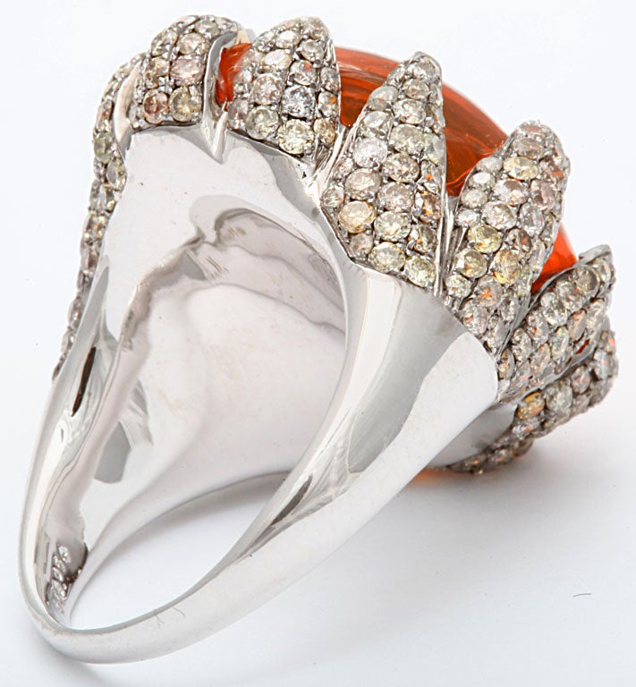 Flame Tipped Diamond & Fire Opal Ring 5
