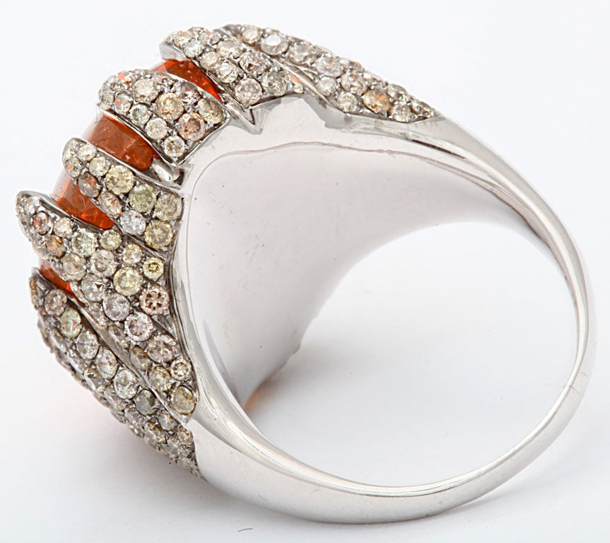 Flame Tipped Diamond & Fire Opal Ring 6
