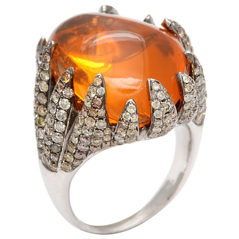 Flame Tipped Diamond & Fire Opal Ring