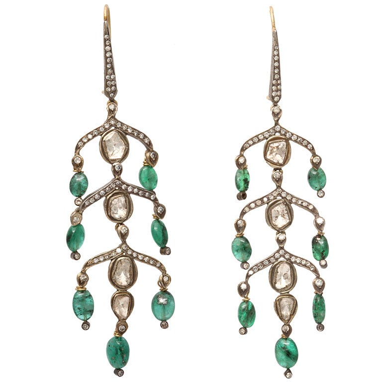 indian emerald and drop earrings at 1stdibs