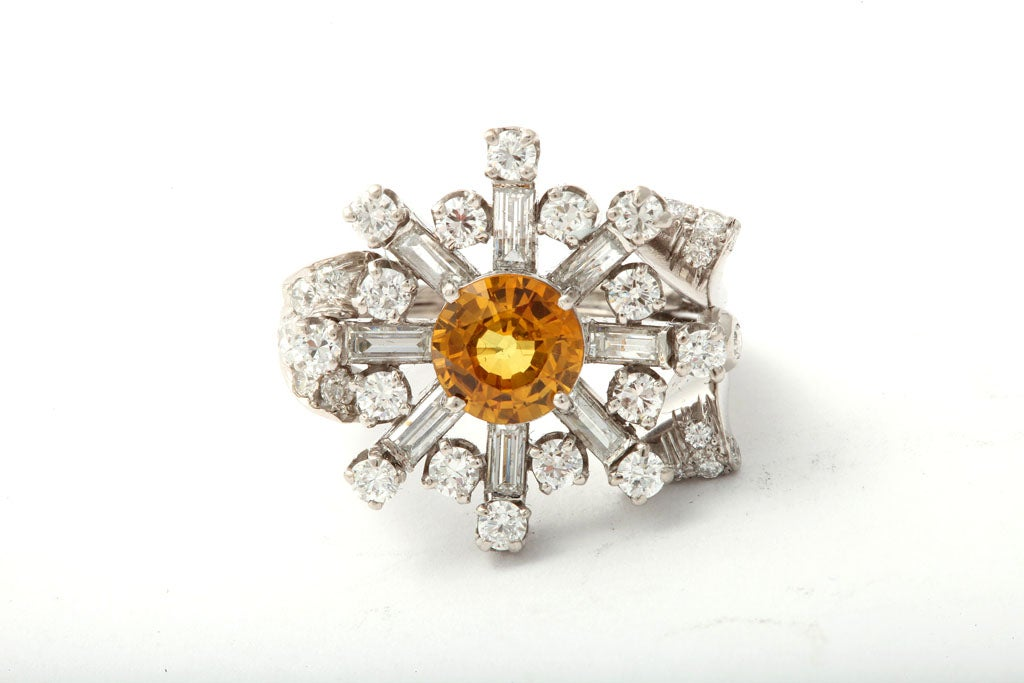 40's Assymetric Platinum Diamond & Yellow Sapphire Ring For Sale 1