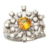 40's Assymetric Platinum Diamond & Yellow Sapphire Ring