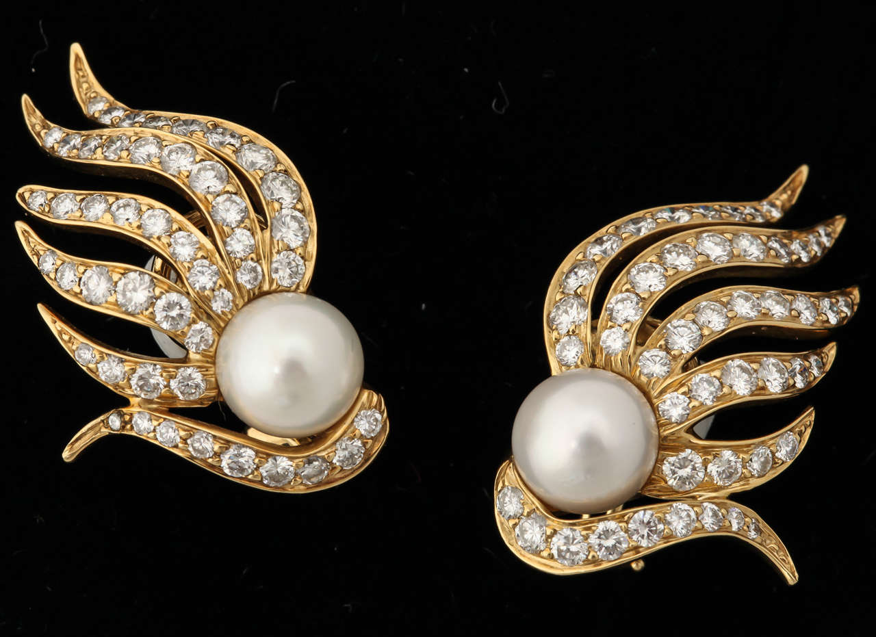 Women's 1980s Seaman Schepps Pearl Diamond Gold Flame Earclips For Sale