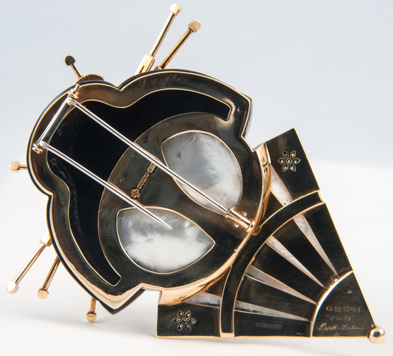 Onyx Mother of Pearl Diamond Geisha Girl Clip Brooch 4
