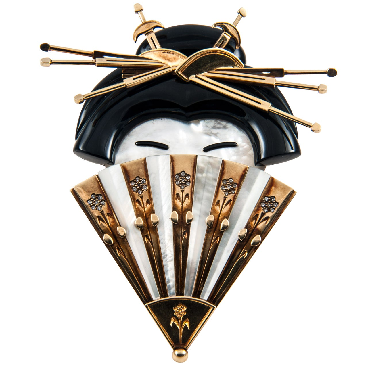 Onyx Mother of Pearl Diamond Geisha Girl Clip Brooch 1