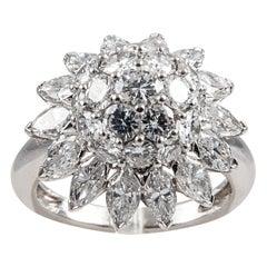 Diamond Platinum Star Cluster Ring