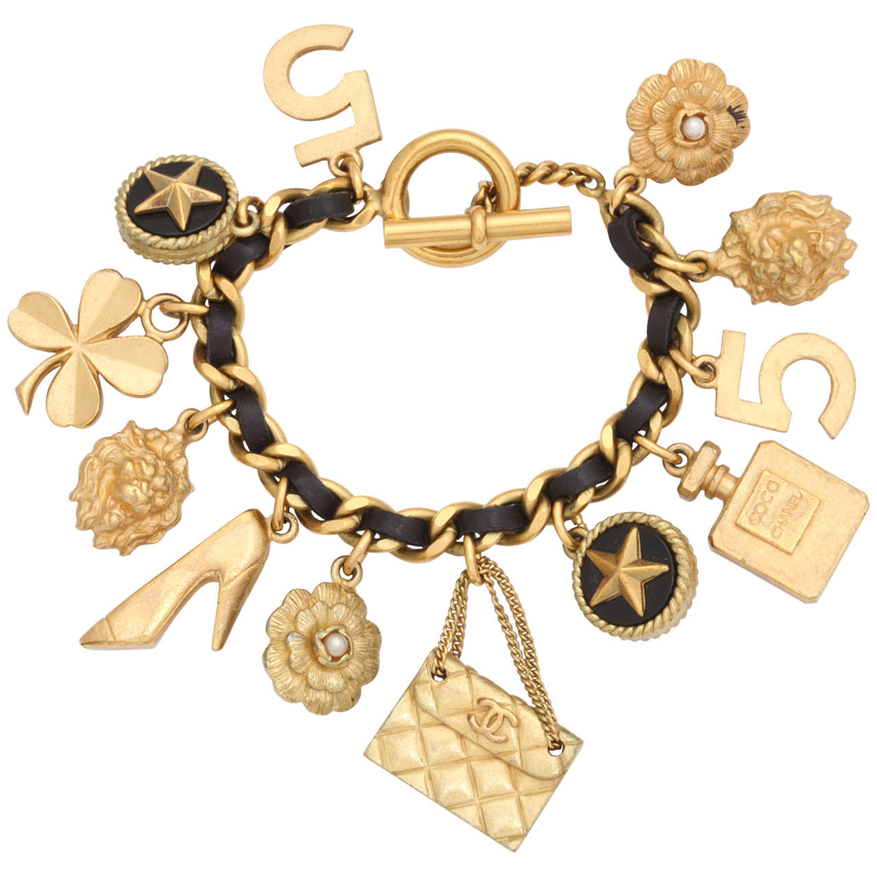 Vintage Chanel Iconic Charm Bracelet with Black Leather/Gold Chain For Sale