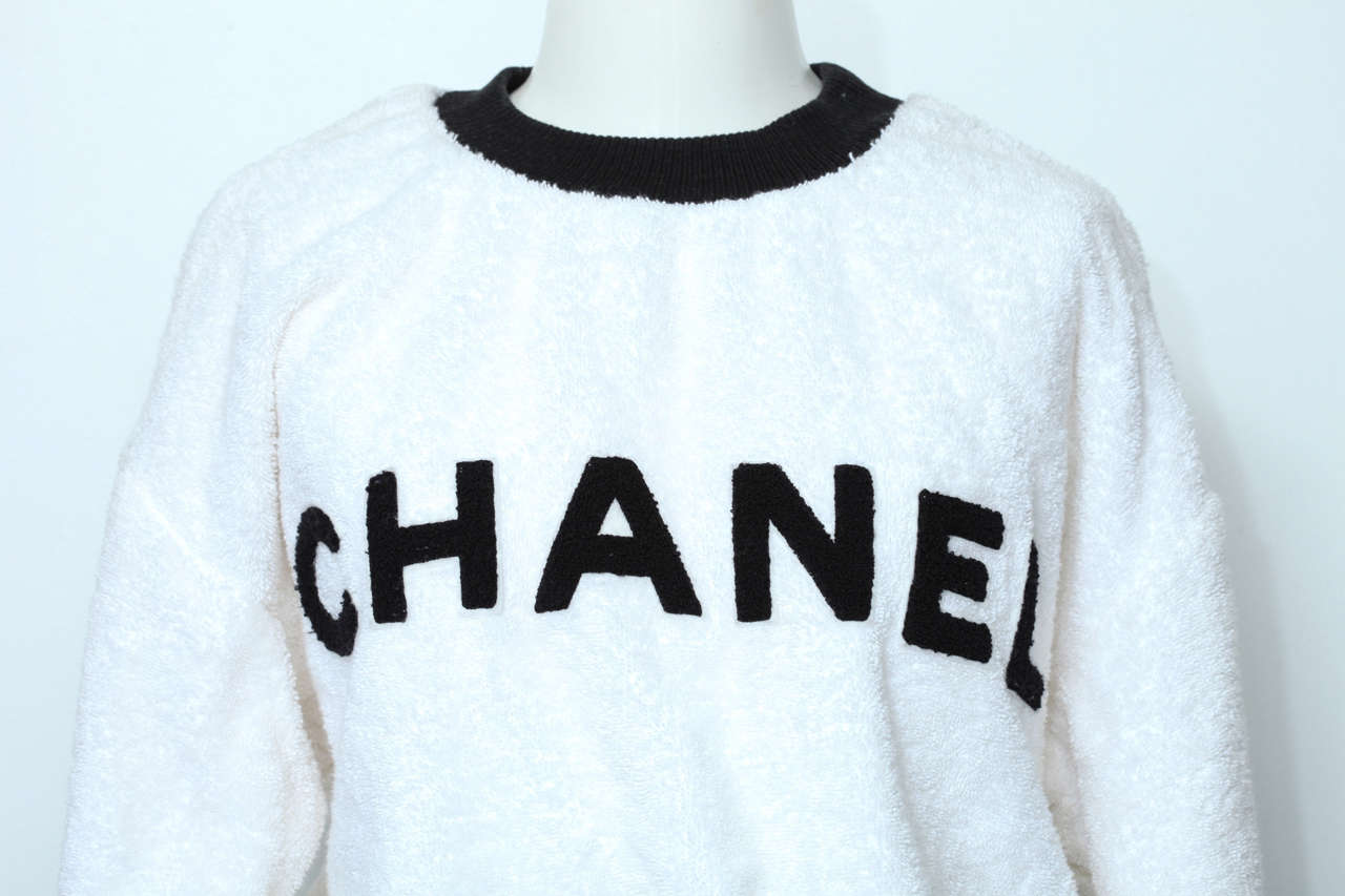 Chanel Black/White Logo Pullover Terry Sweater 3