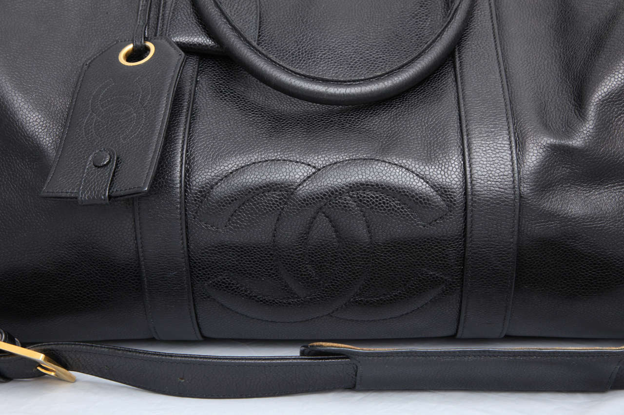 Chanel Caviar Skin Duffle Bag with CC 4