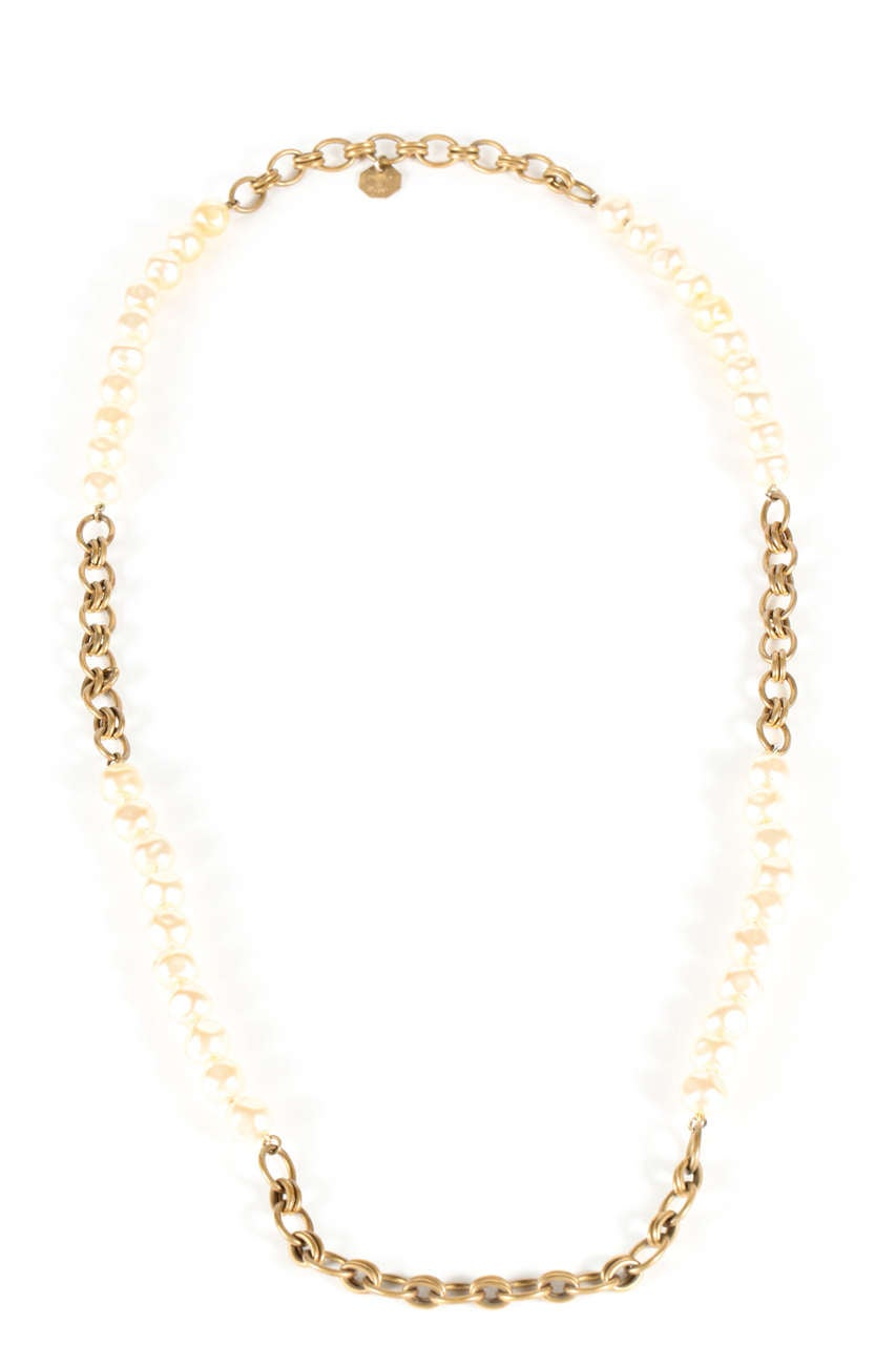 Chanel Pearl And Gold Chain Necklace 2