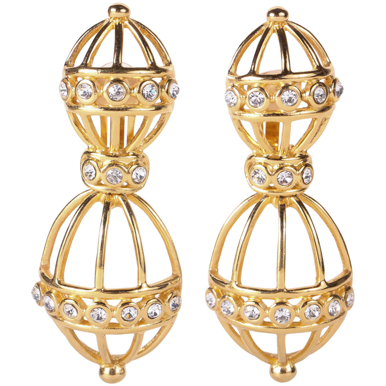 "Christian Dior ""Bird Cage"" Ear Clips 1"