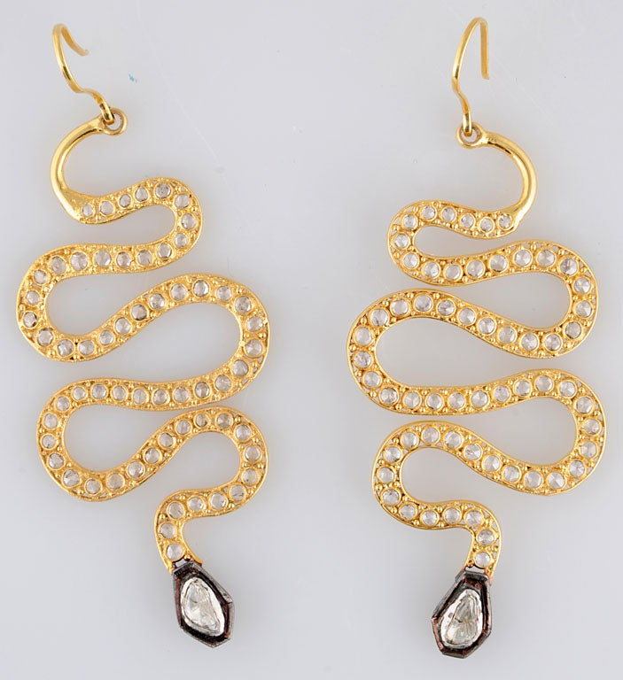 Long Diamond Silver and Gold Snake Earrings 2