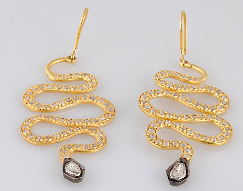 Long Diamond Silver and Gold Snake Earrings 3