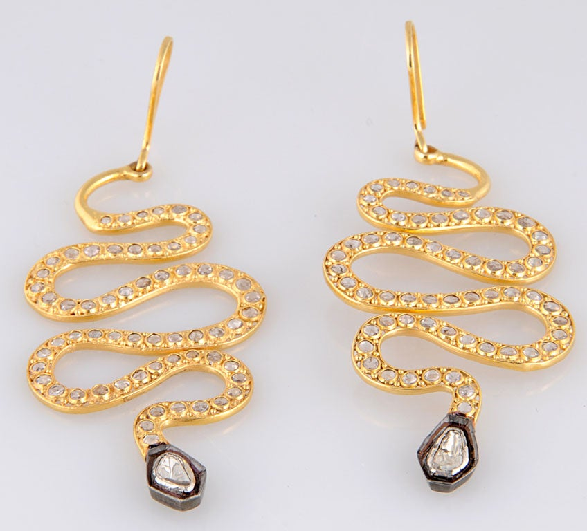 Long Diamond Silver and Gold Snake Earrings 4