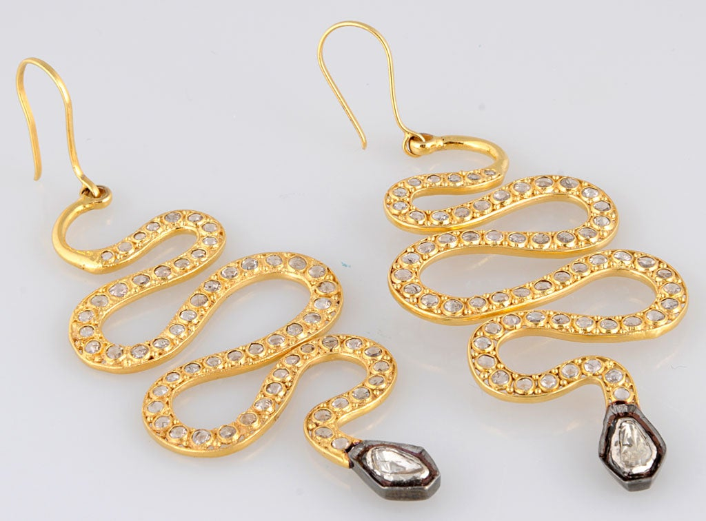 Long Diamond Silver and Gold Snake Earrings 5