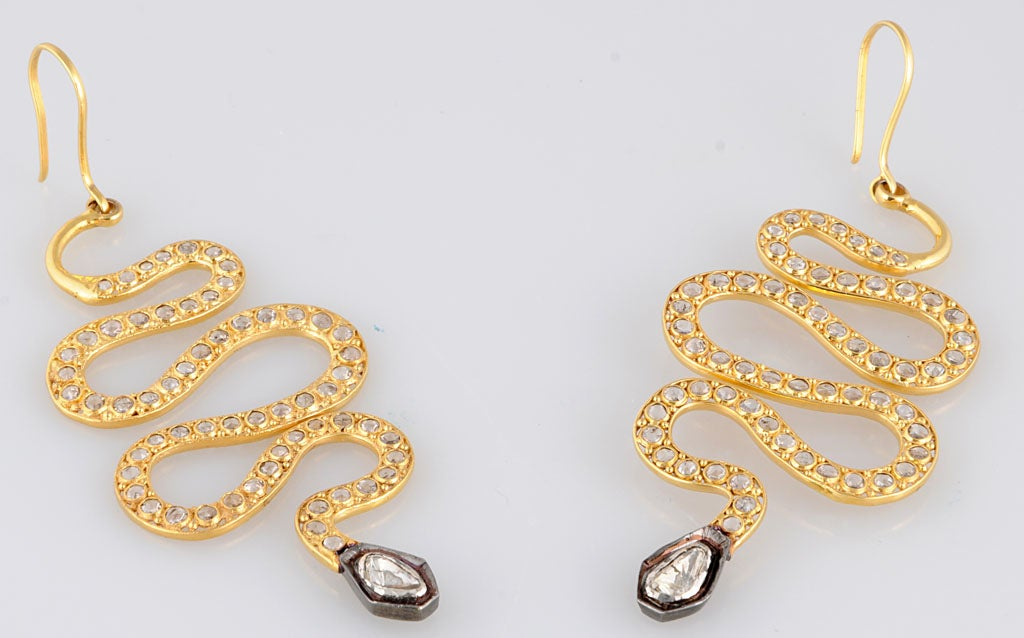Long Diamond Silver and Gold Snake Earrings 6