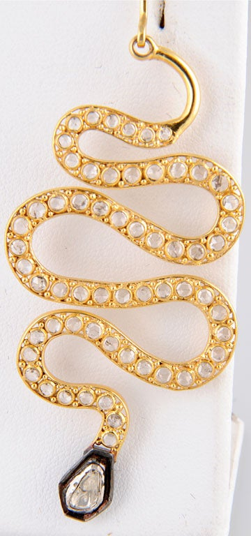 Long Diamond Silver and Gold Snake Earrings 7