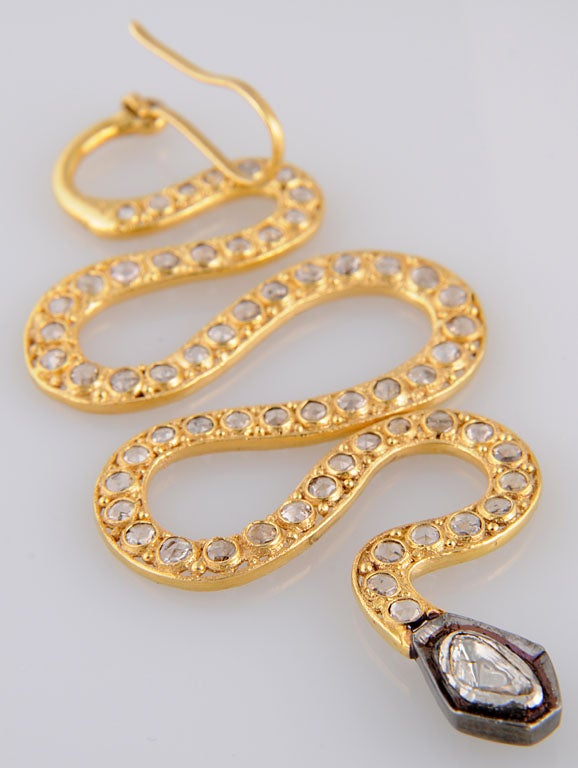 Long Diamond Silver and Gold Snake Earrings 8