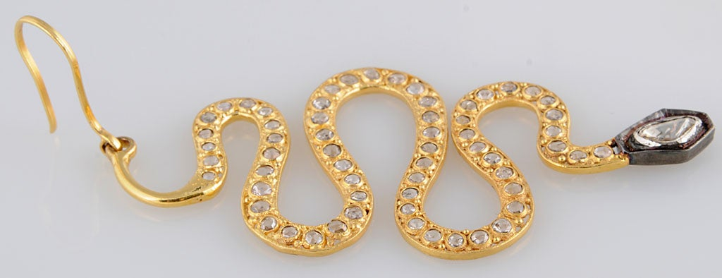 Long Diamond Silver and Gold Snake Earrings 9