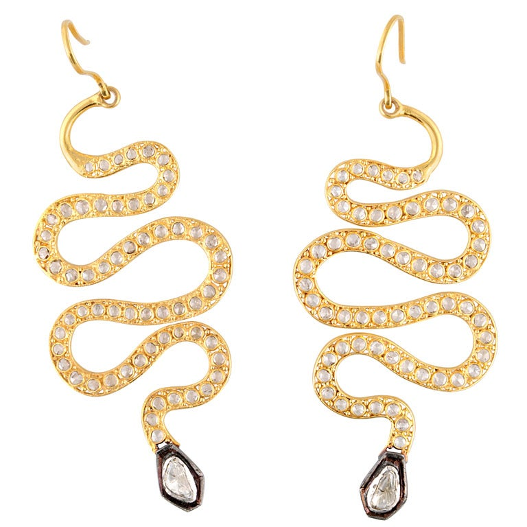 Long Diamond Silver and Gold Snake Earrings