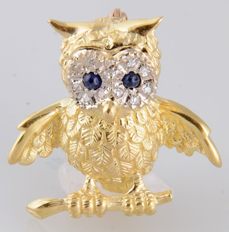 Adorable Gold Owl On Branch Brooch 2