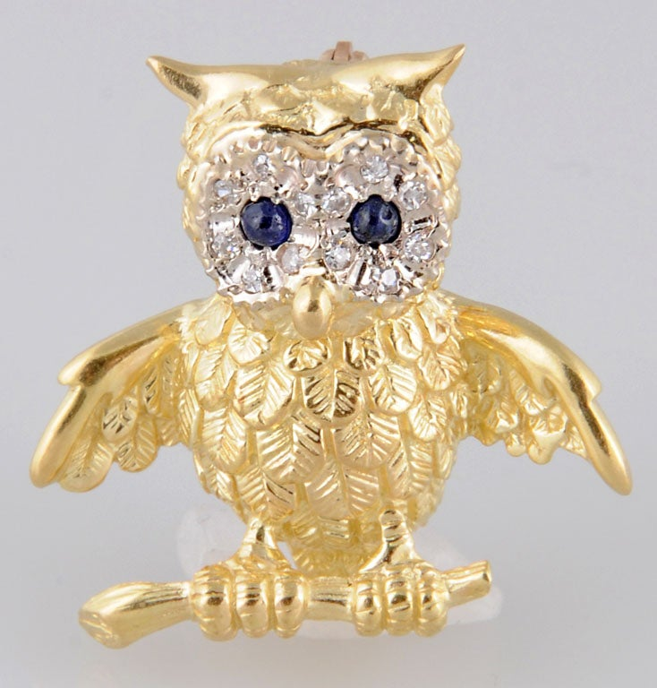 Women's or Men's Adorable Gold Owl On Branch Brooch For Sale