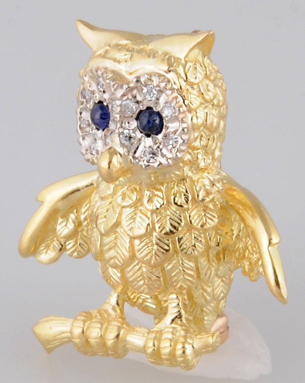 Adorable Gold Owl On Branch Brooch For Sale 1