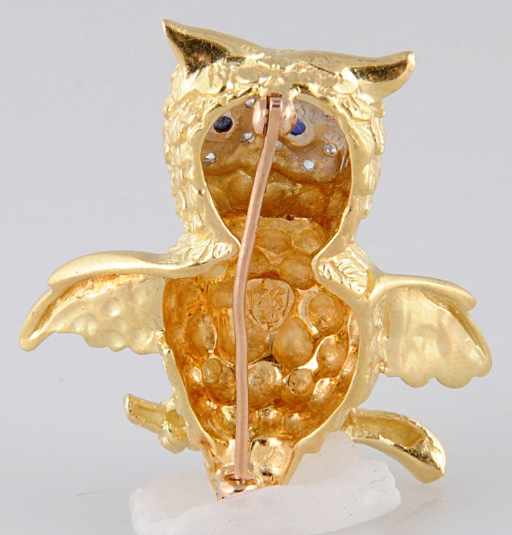 Adorable Gold Owl On Branch Brooch 5