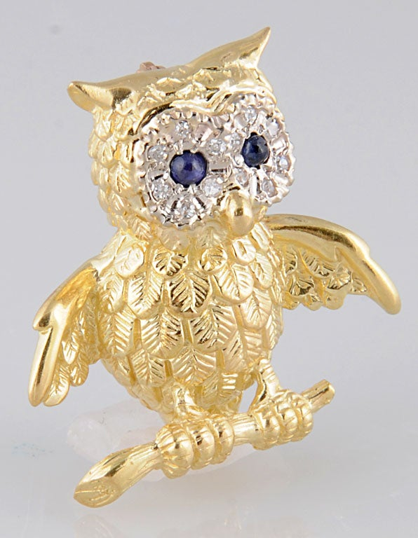 Adorable Gold Owl On Branch Brooch For Sale 3