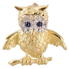 Adorable Gold Owl On Branch Brooch