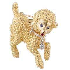 Whimsical Lamb Sheep Diamond Sapphire and Ruby Yellow Gold Figural Brooch Pin