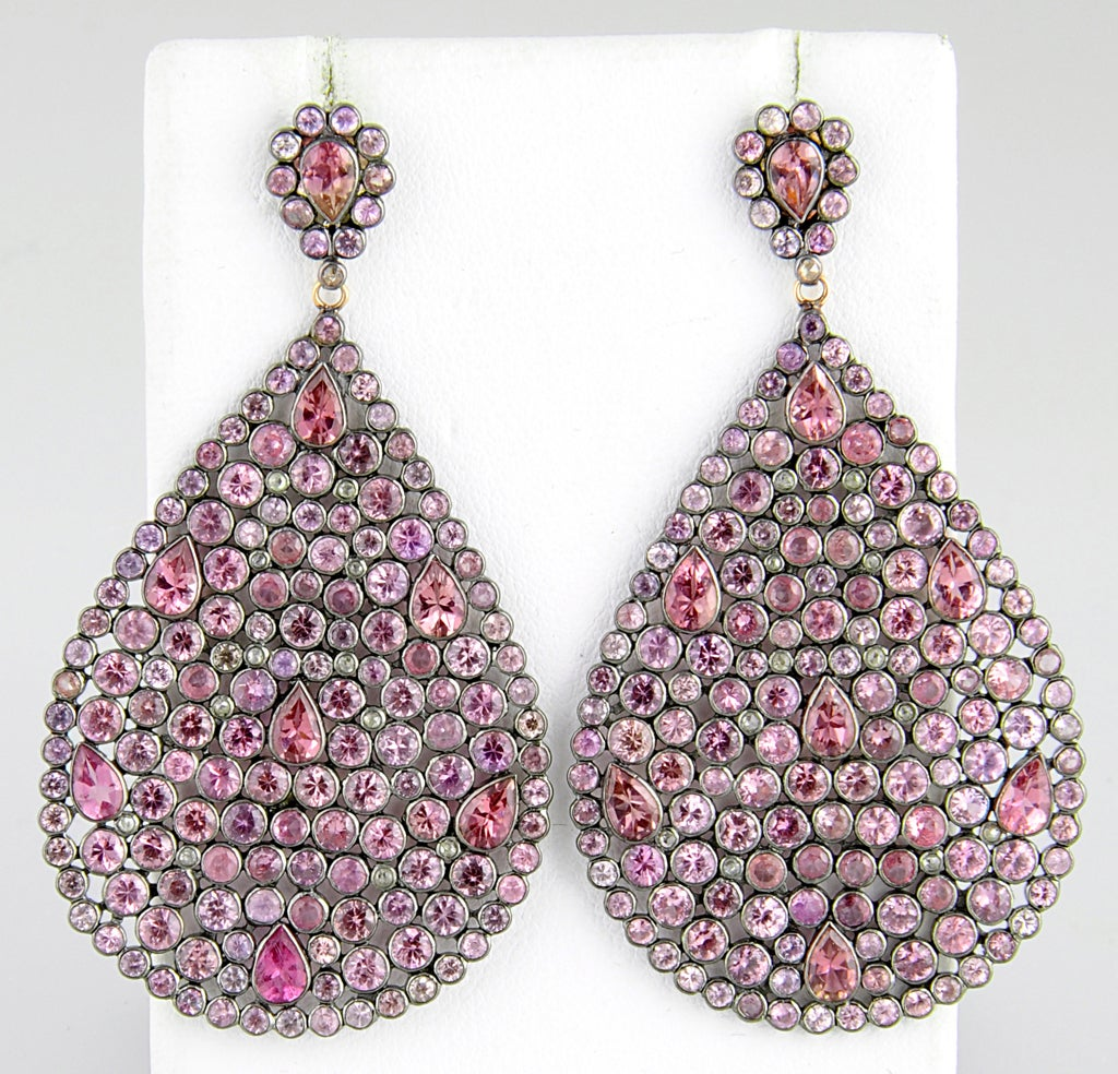 Impressive Large Pink Sapphire & Diamond Dangling  Earrings image 2