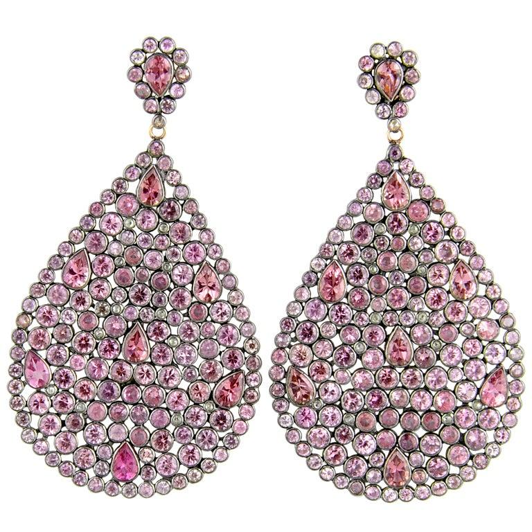 Impressive Large Pink Sapphire & Diamond Dangling  Earrings For Sale