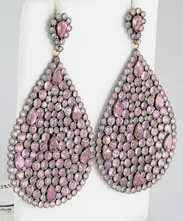 Impressive Large Pink Sapphire & Diamond Dangling  Earrings image 3