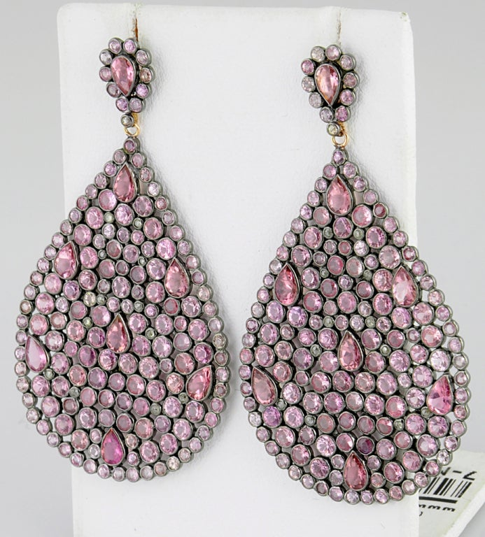Impressive Large Pink Sapphire & Diamond Dangling  Earrings image 4