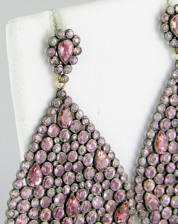 Impressive Large Pink Sapphire & Diamond Dangling  Earrings image 5