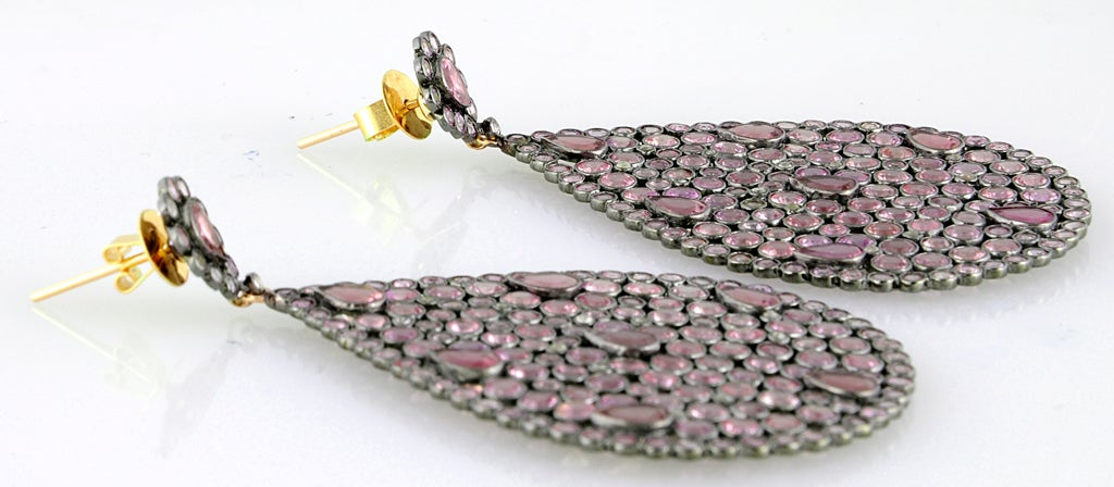 Impressive Large Pink Sapphire & Diamond Dangling  Earrings image 7