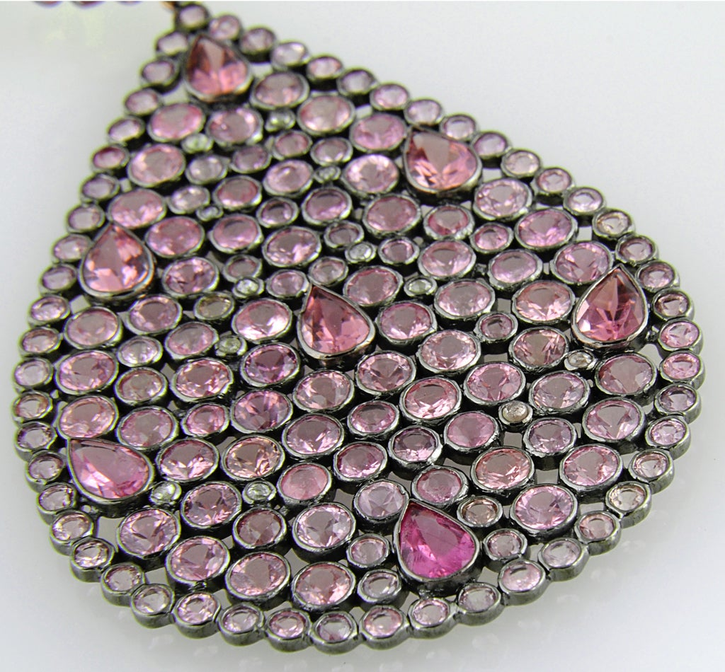 Impressive Large Pink Sapphire & Diamond Dangling  Earrings image 9