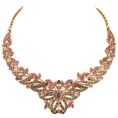 Vintage Emerald & Ruby  Necklace 80's India Piece
