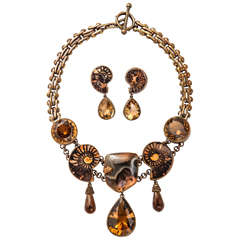 Stephen Dweck Bronze & Fossil & Citrine Set