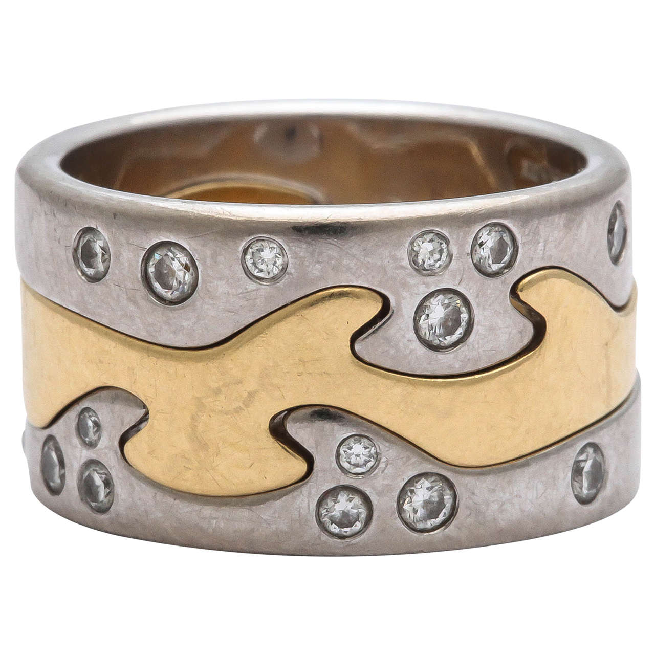 georg jensen by nina koppel diamond gold fusion ring for. Black Bedroom Furniture Sets. Home Design Ideas