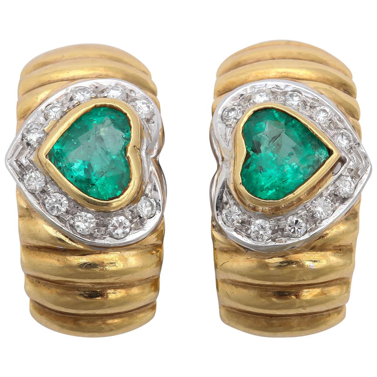 Emerald Gold Ridged Hoop Earrings
