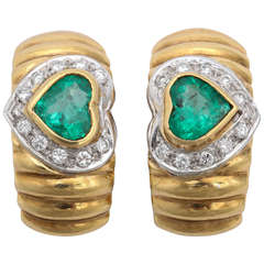Emerald Gold Ridged Hoop Earrings