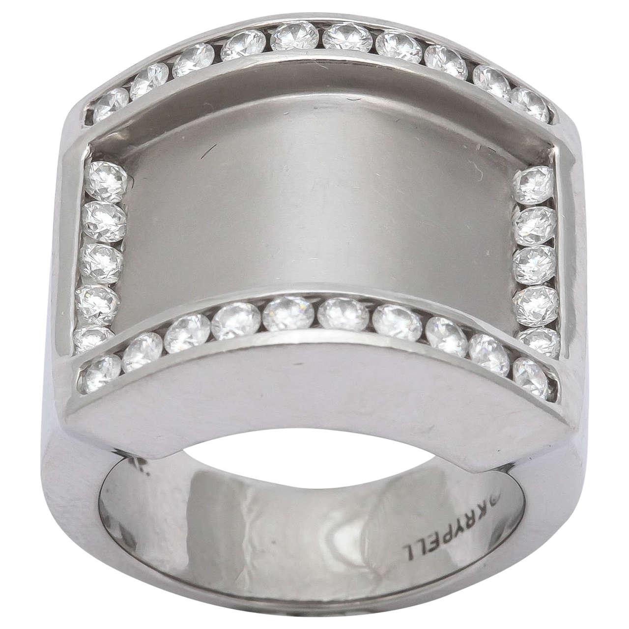 Charles Krypell Diamond Platinum Band Ring