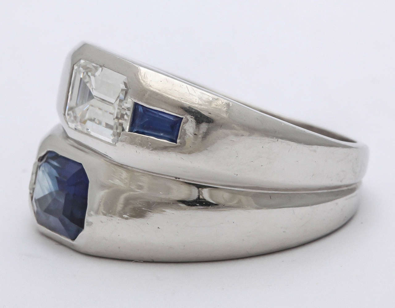 Art Deco Diamond  Sapphire Double Platinum  Band In Excellent Condition For Sale In New York, NY