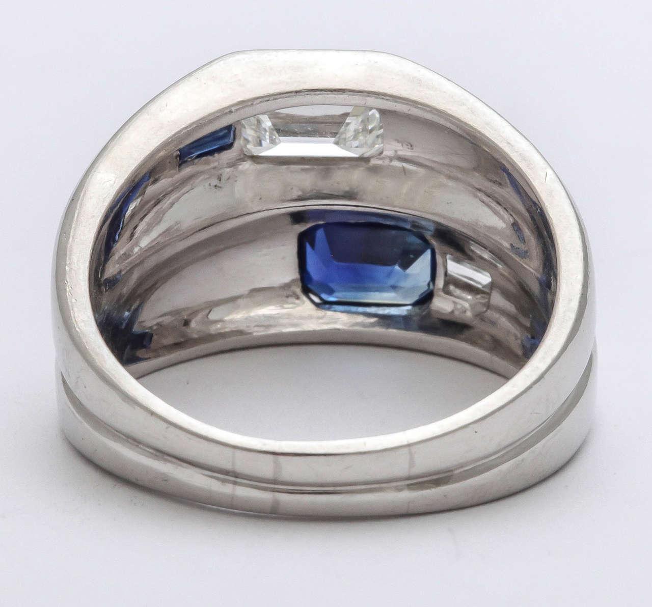 Women's or Men's Art Deco Diamond  Sapphire Double Platinum  Band For Sale
