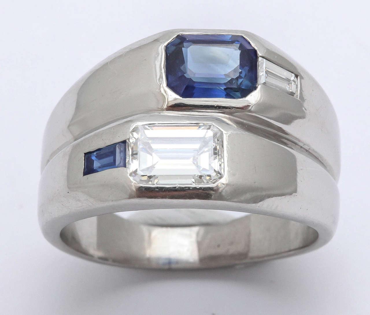 Art Deco Diamond  Sapphire Double Platinum  Band For Sale 1