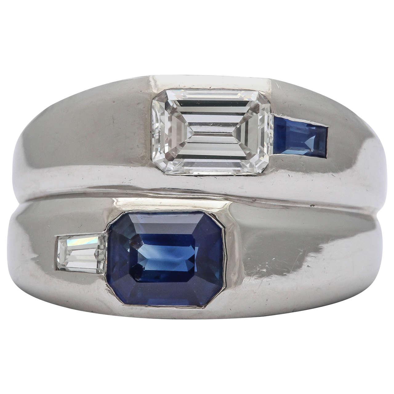 Art Deco Diamond  Sapphire Double Platinum  Band For Sale